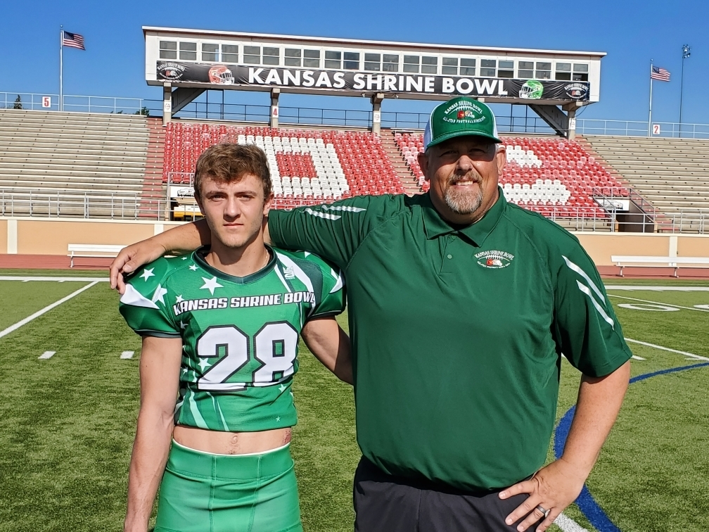 Lane and Coach Hattabaugh ready for tonight's 2019 Shrine Bowl