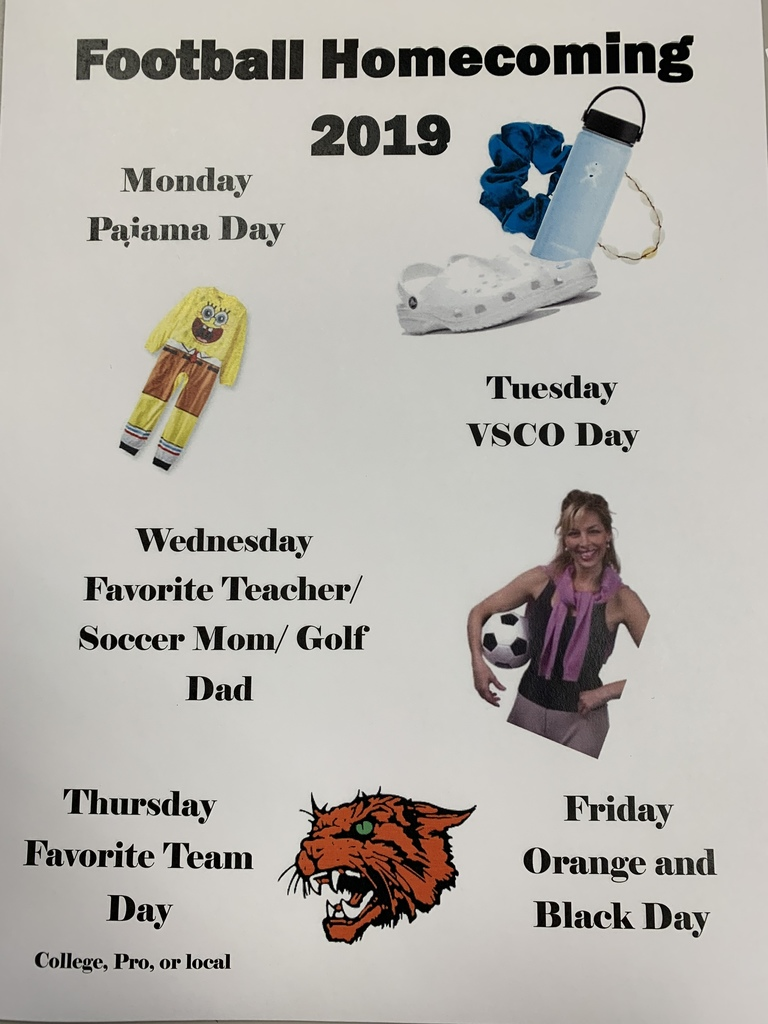 Football homecoming spirit days 2019.