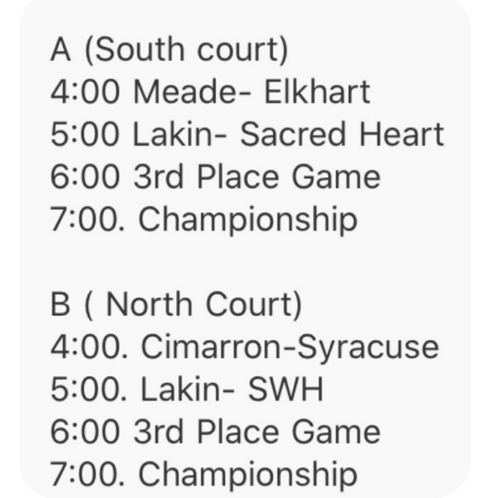 EMS League Tuesday schedule.